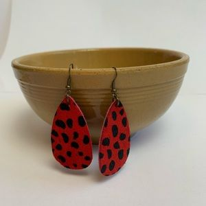 Hair on hide red black rocker drop earring
